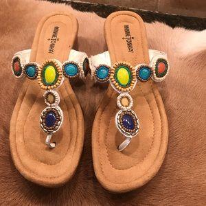 Minnetonka Beaded White Slip on Wedge Sandal Sz 9